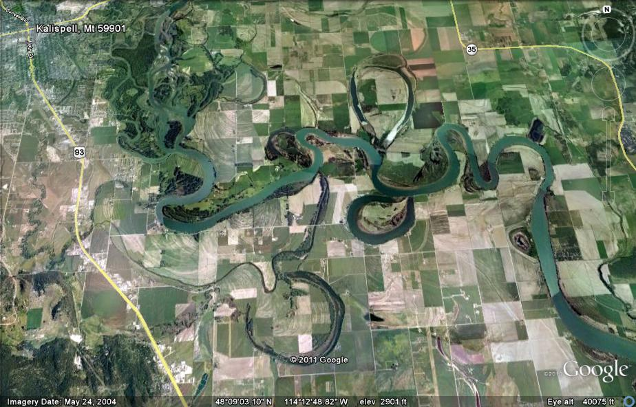 oxbow lake formation. to see several oxbow lakes